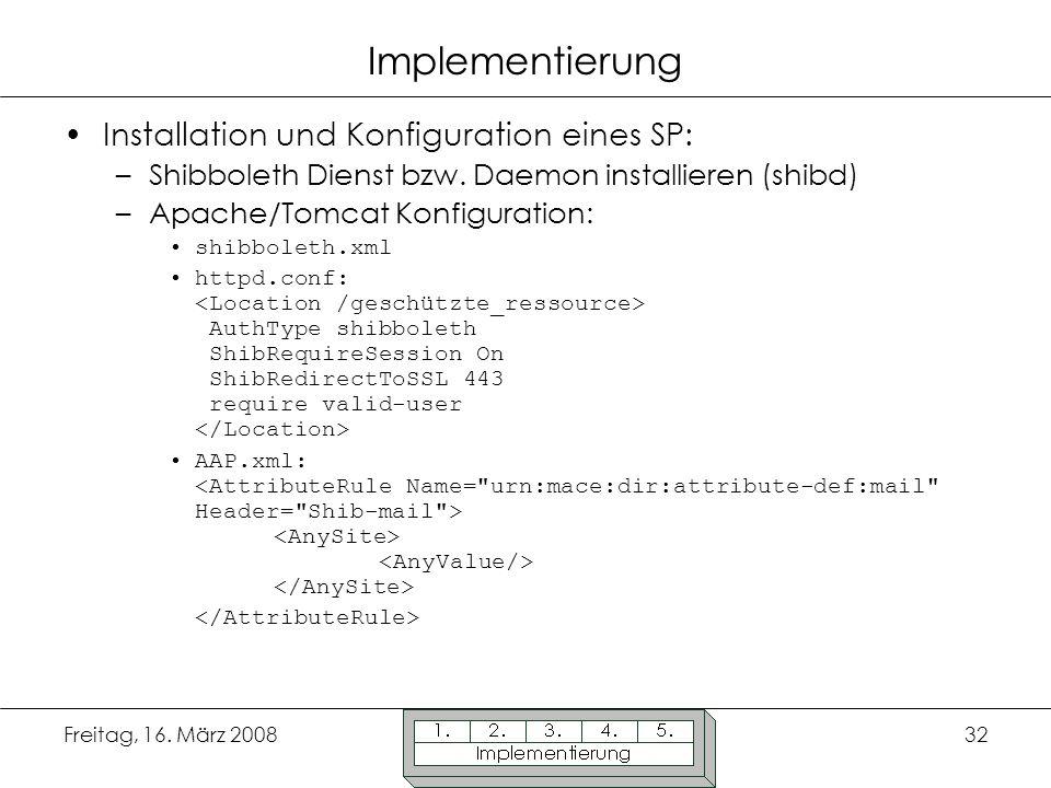 Implementierung Installation und Konfiguration eines SP:
