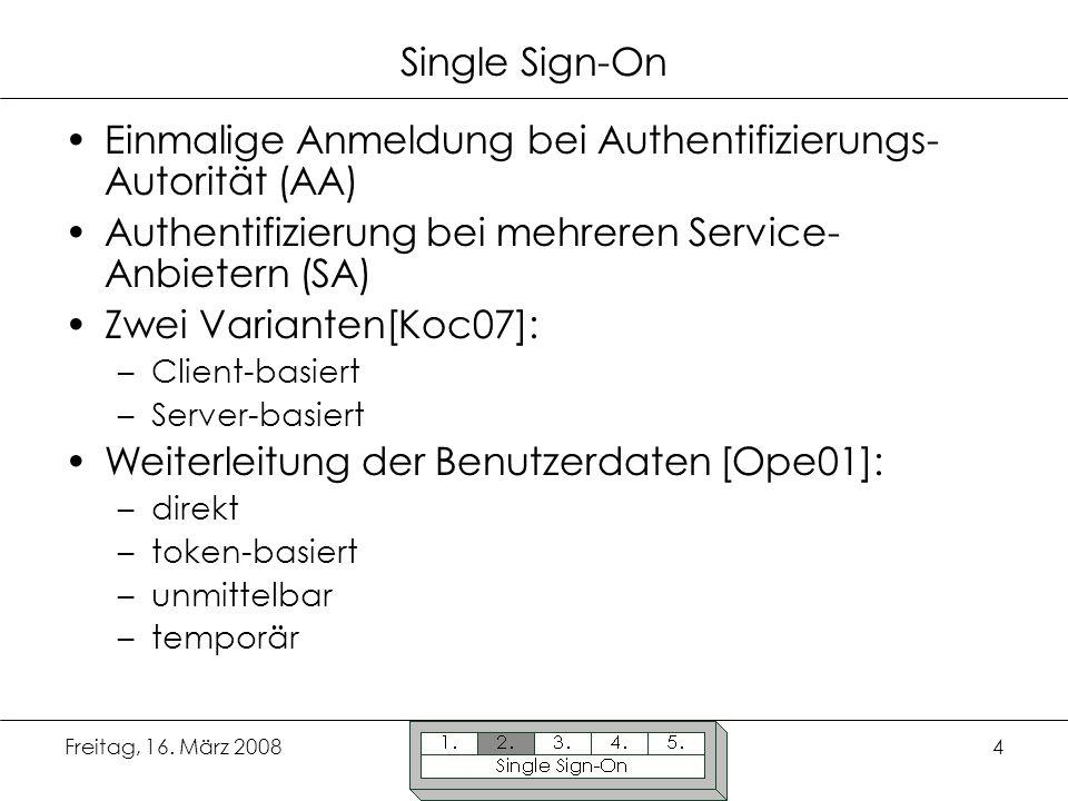 Einmalige Anmeldung bei Authentifizierungs-Autorität (AA)