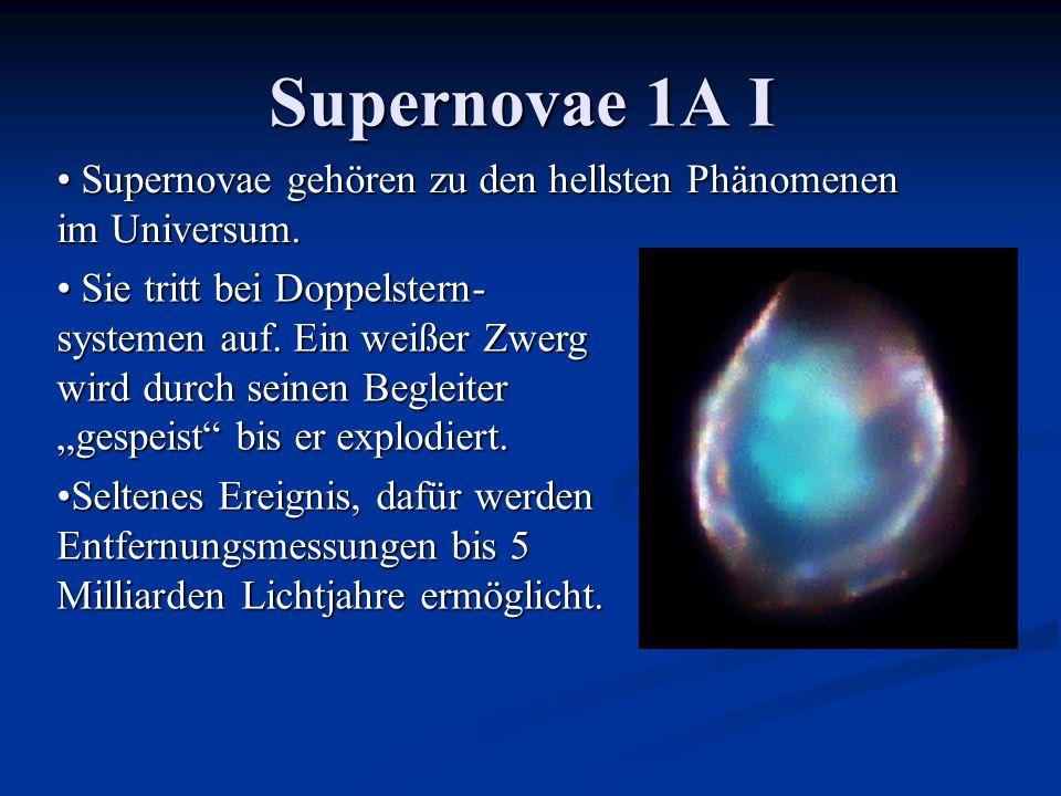 Supernovae 1A I Supernovae gehören zu den hellsten Phänomenen im Universum.
