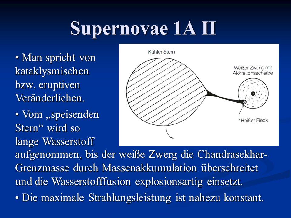 """Supernovae 1A II Man spricht von kataklysmischen bzw. eruptiven Veränderlichen. Vom """"speisenden Stern wird so lange Wasserstoff."""