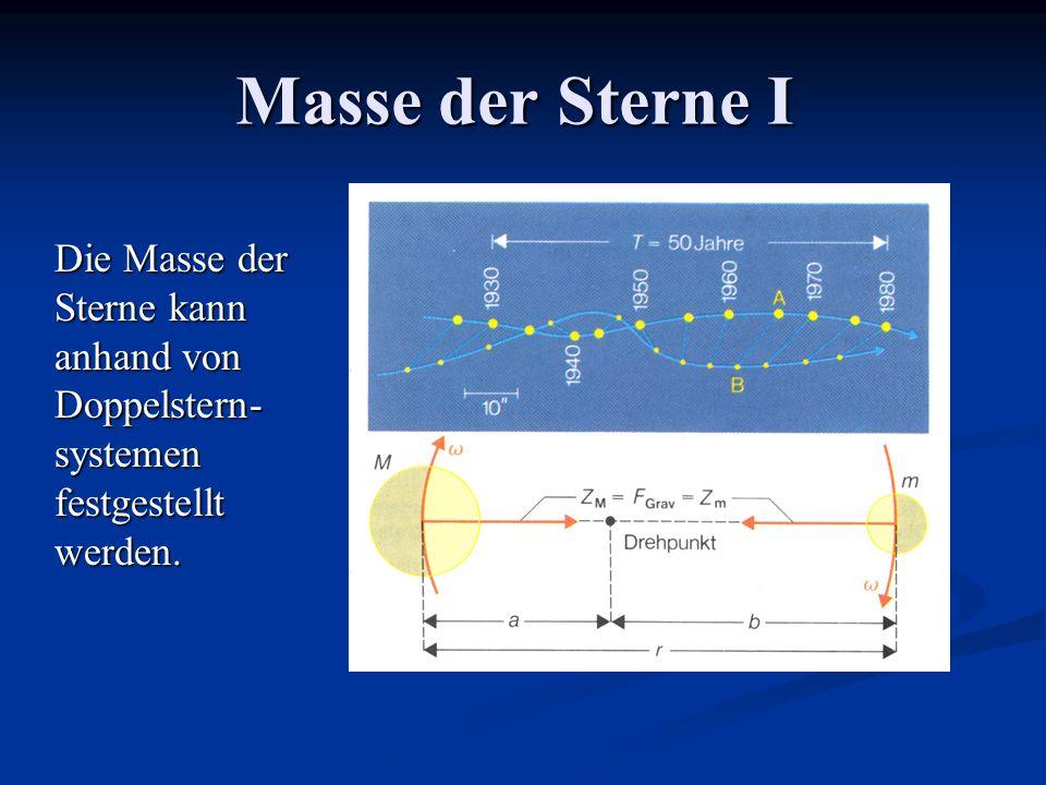 Masse der Sterne I Die Masse der Sterne kann anhand von Doppelstern-systemen festgestellt werden.