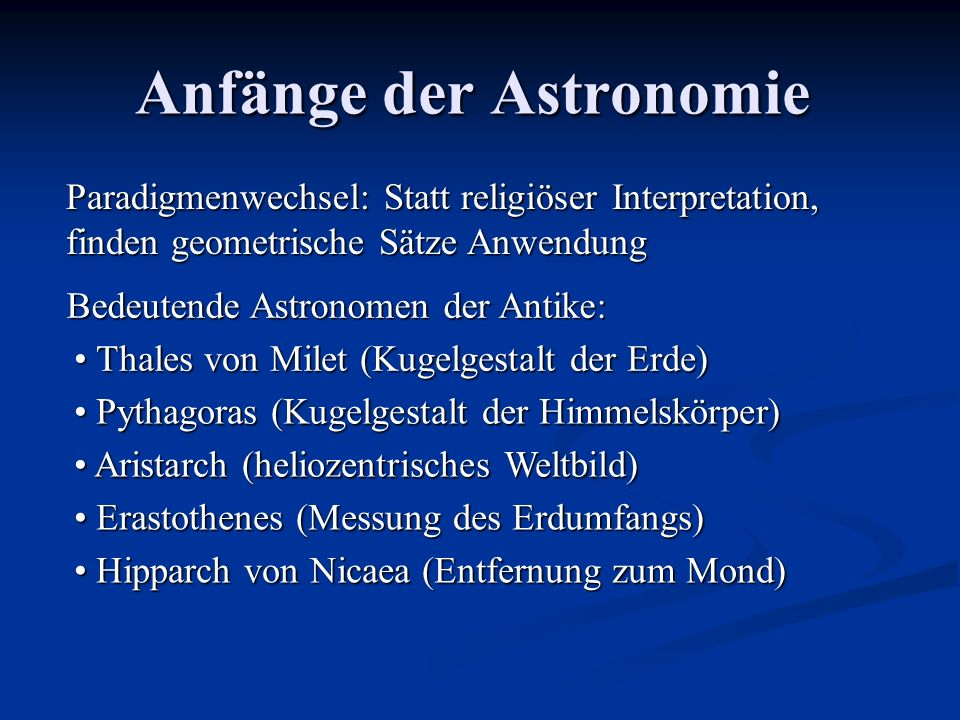 Anfänge der Astronomie