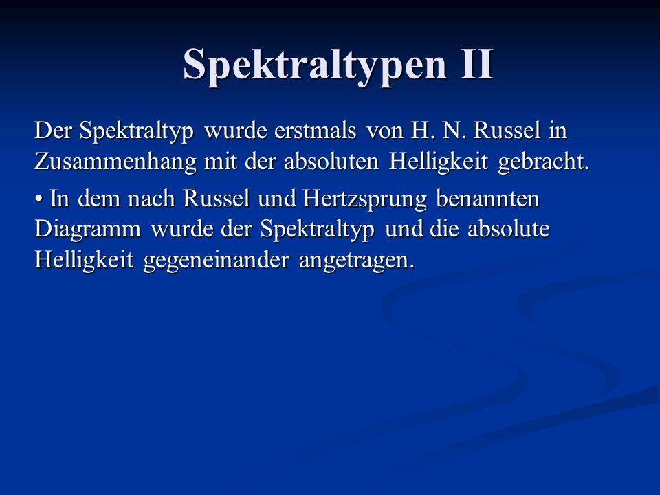 Spektraltypen II Der Spektraltyp wurde erstmals von H. N. Russel in Zusammenhang mit der absoluten Helligkeit gebracht.