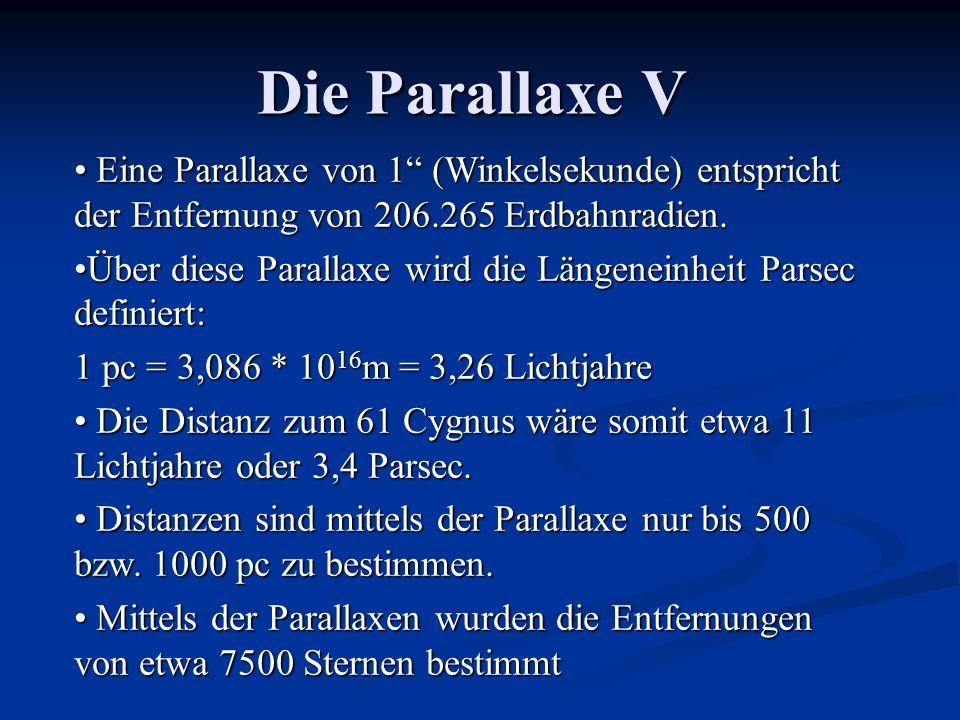 Die Parallaxe V Eine Parallaxe von 1 (Winkelsekunde) entspricht der Entfernung von 206.265 Erdbahnradien.