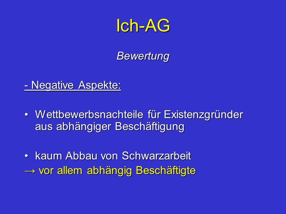 Ich-AG Bewertung - Negative Aspekte: