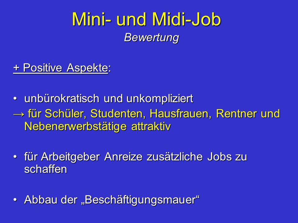 Mini- und Midi-Job Bewertung + Positive Aspekte: