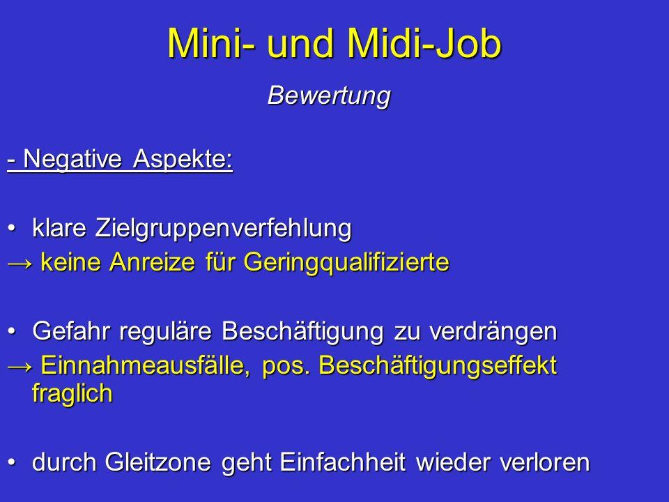 Mini- und Midi-Job Bewertung - Negative Aspekte: