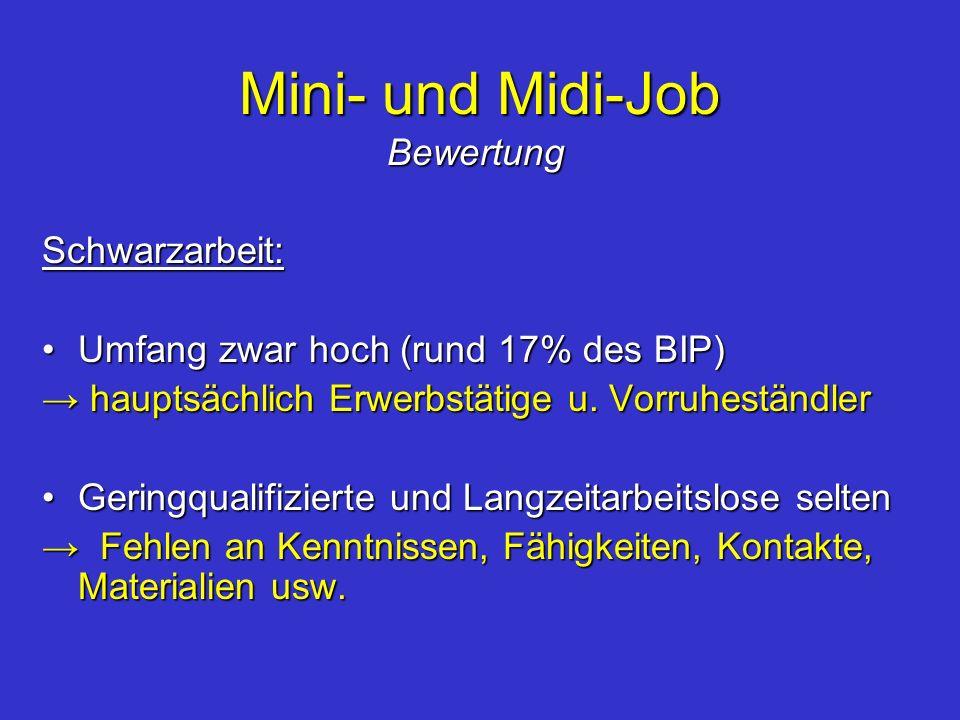 Mini- und Midi-Job Bewertung Schwarzarbeit: