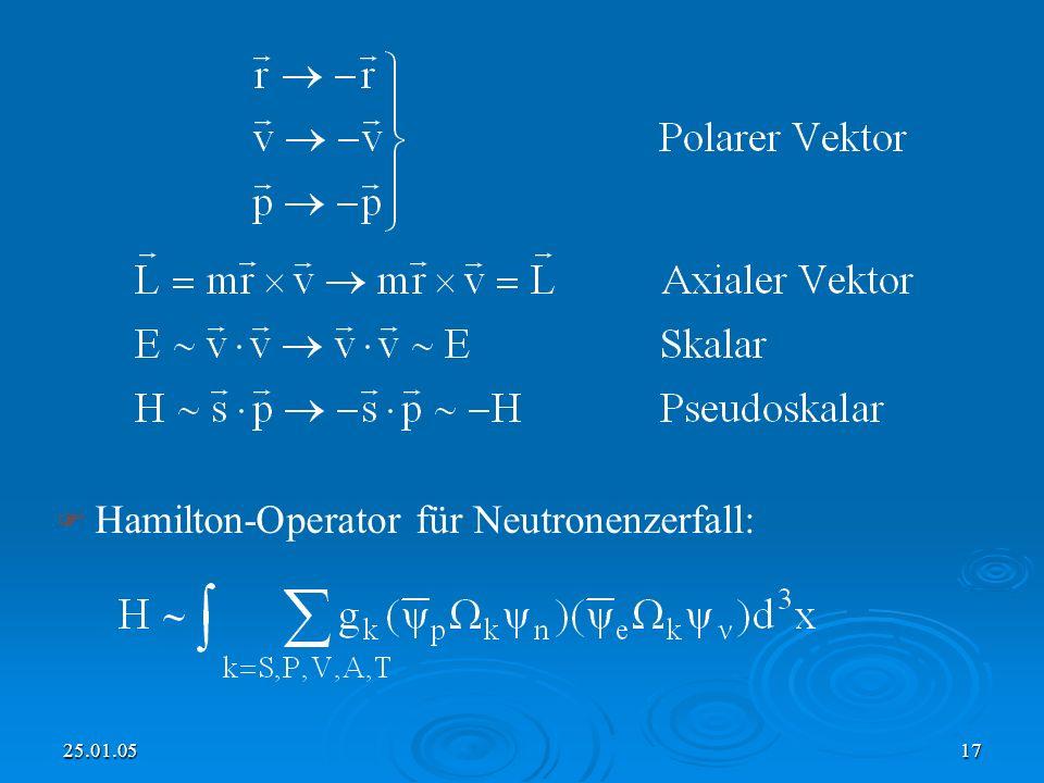 Hamilton-Operator für Neutronenzerfall: