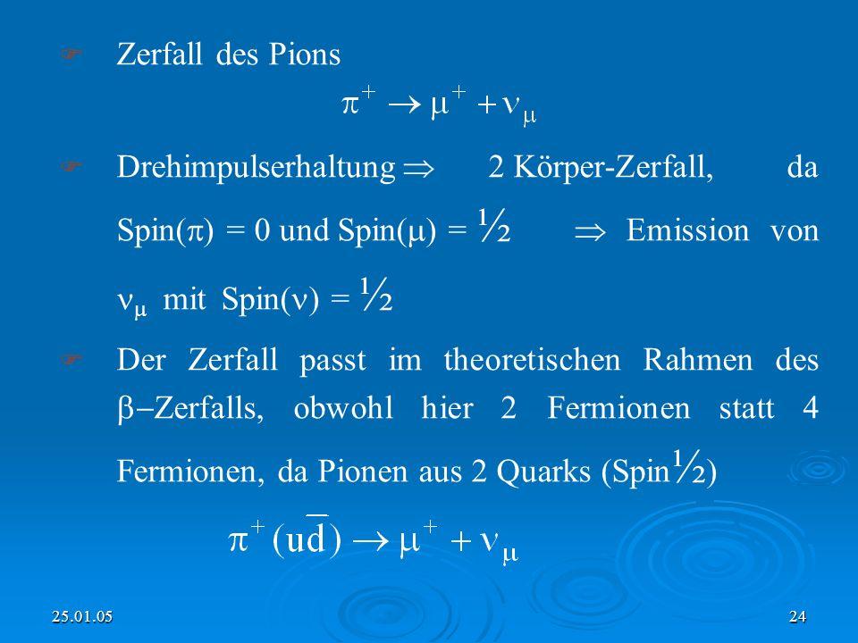 Zerfall des Pions Drehimpulserhaltung  2 Körper-Zerfall, da Spin() = 0 und Spin() = ½  Emission von  mit Spin() = ½.