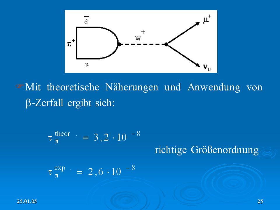 Mit theoretische Näherungen und Anwendung von -Zerfall ergibt sich: