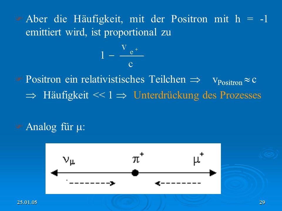 Positron ein relativistisches Teilchen  vPositron  c