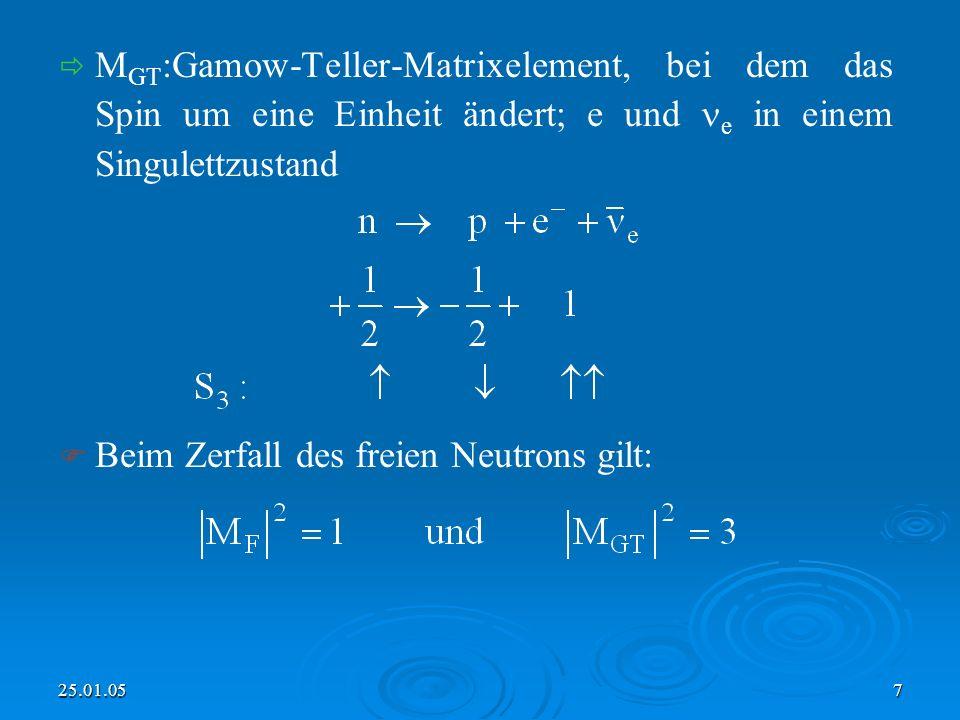 Beim Zerfall des freien Neutrons gilt: