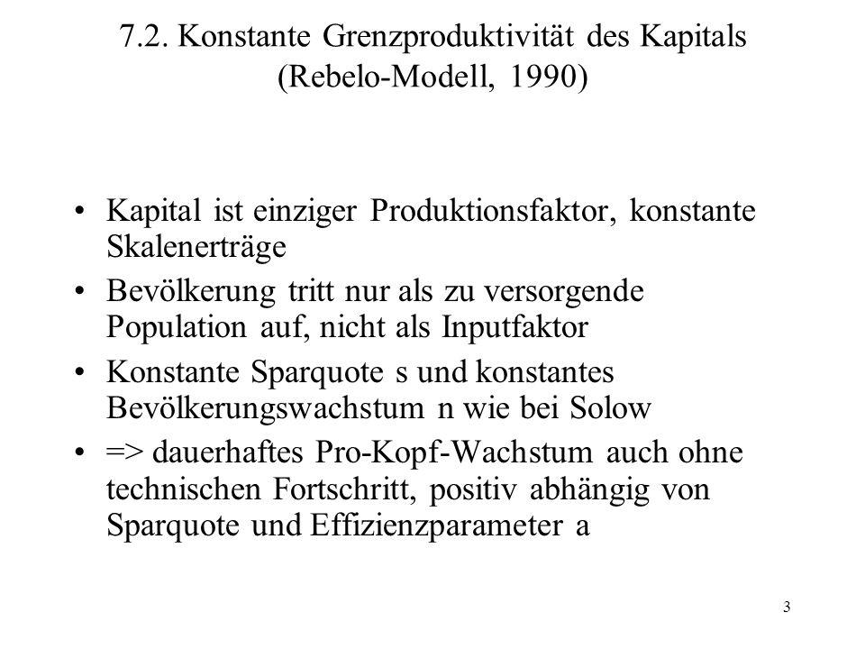 7.2. Konstante Grenzproduktivität des Kapitals (Rebelo-Modell, 1990)