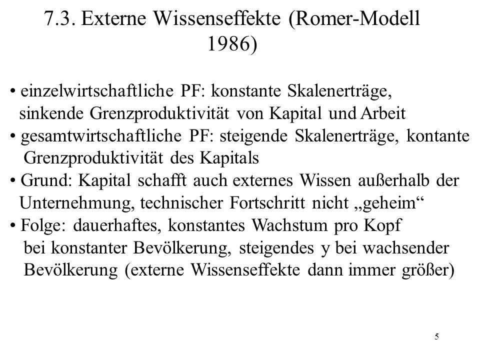 7.3. Externe Wissenseffekte (Romer-Modell 1986)
