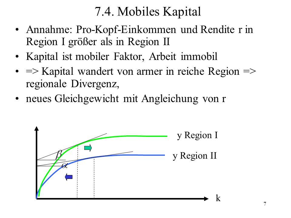 7.4. Mobiles Kapital Annahme: Pro-Kopf-Einkommen und Rendite r in Region I größer als in Region II.