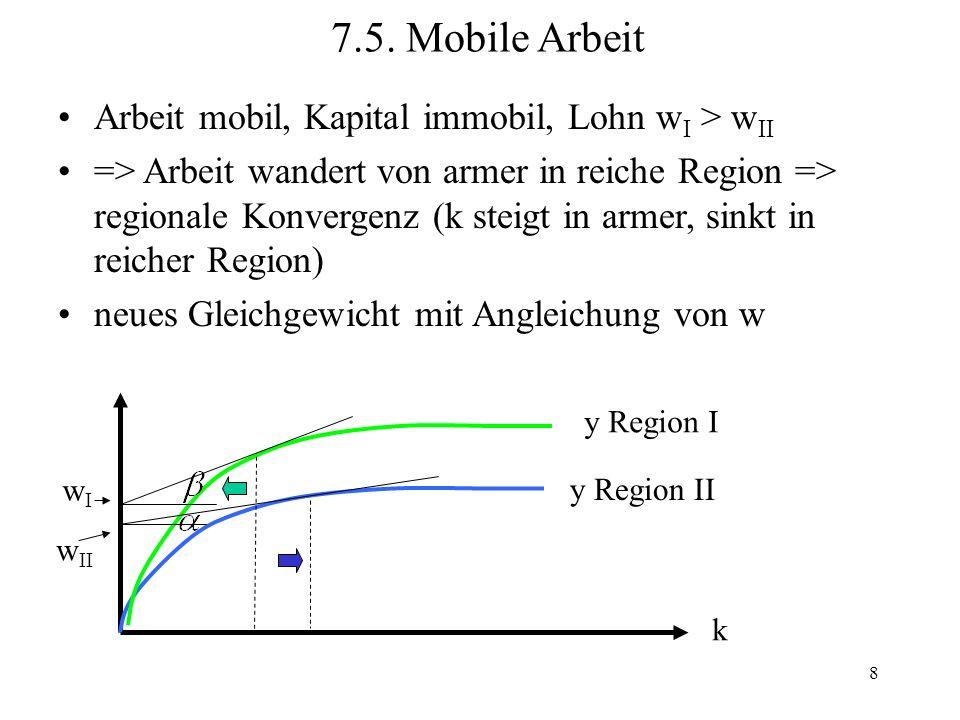 7.5. Mobile Arbeit Arbeit mobil, Kapital immobil, Lohn wI > wII