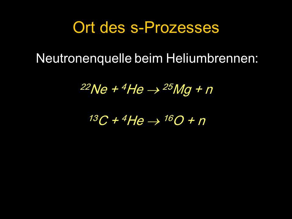 Ort des s-Prozesses Neutronenquelle beim Heliumbrennen: