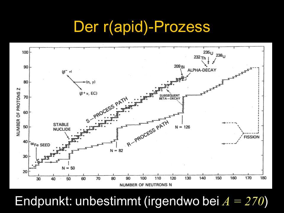 Der r(apid)-Prozess Endpunkt: unbestimmt (irgendwo bei A = 270)
