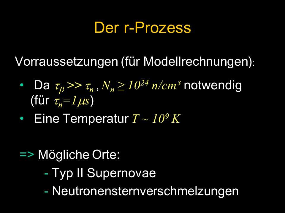 Der r-Prozess Vorraussetzungen (für Modellrechnungen):