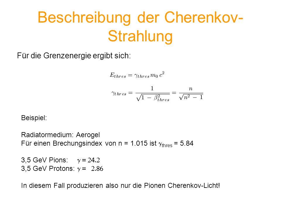 Beschreibung der Cherenkov-Strahlung