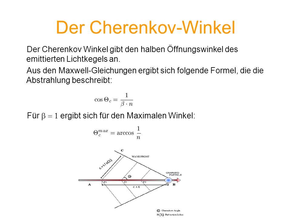 Der Cherenkov-Winkel Der Cherenkov Winkel gibt den halben Öffnungswinkel des emittierten Lichtkegels an.