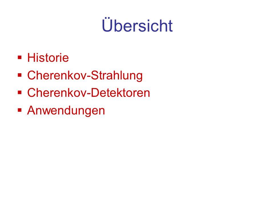Übersicht Historie Cherenkov-Strahlung Cherenkov-Detektoren