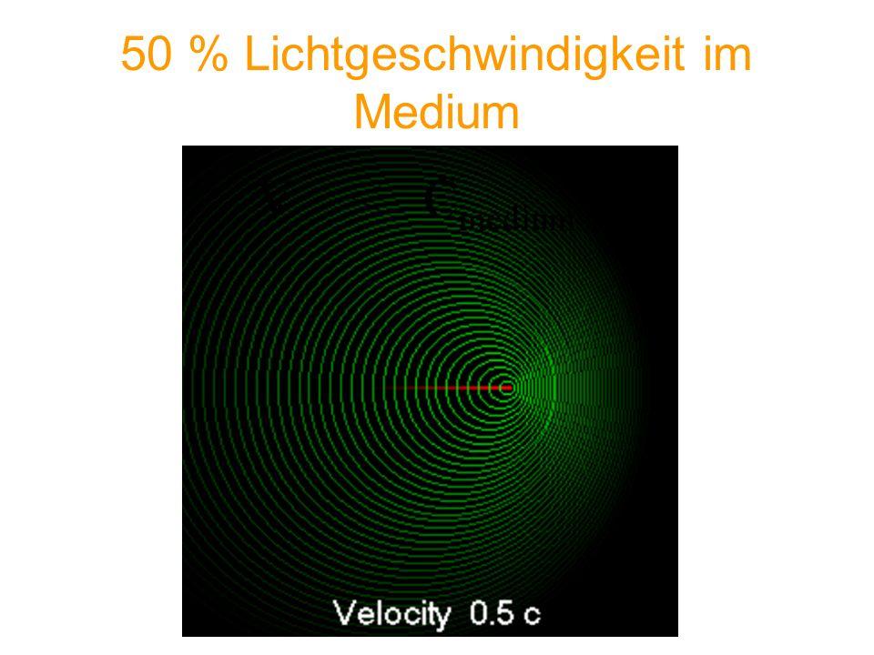 50 % Lichtgeschwindigkeit im Medium