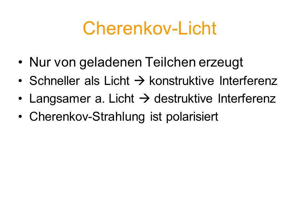 Cherenkov-Licht Nur von geladenen Teilchen erzeugt