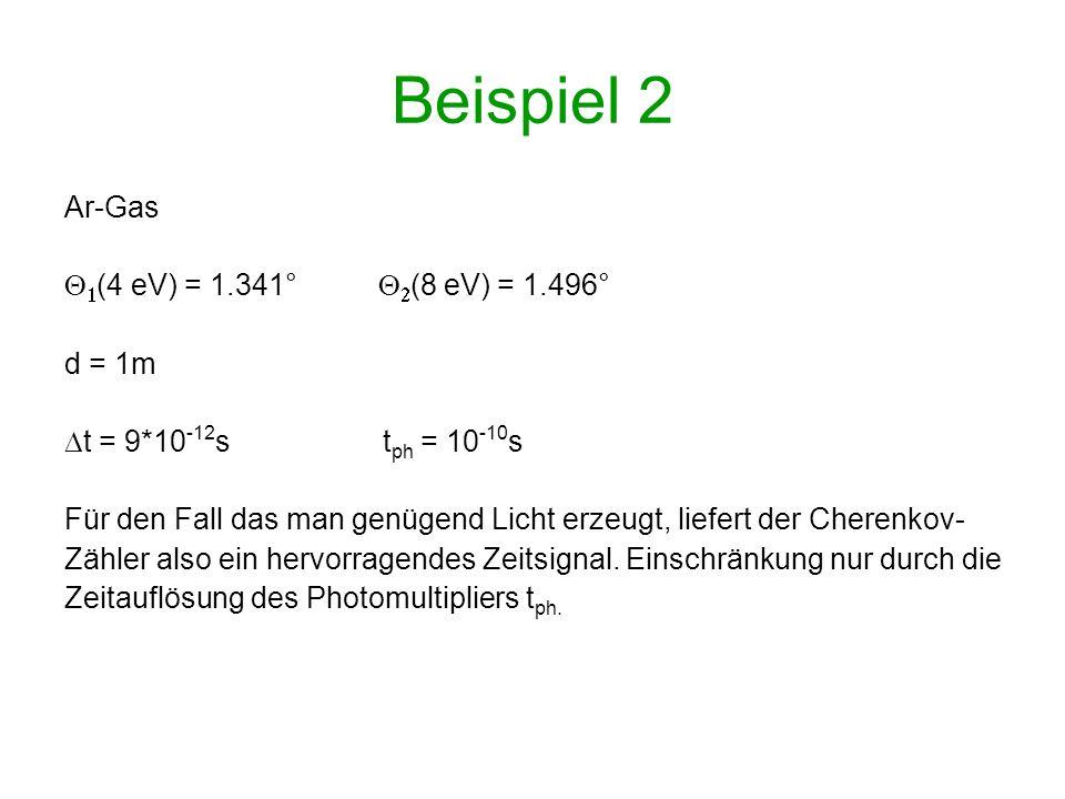 Beispiel 2 Ar-Gas Q1(4 eV) = 1.341° Q2(8 eV) = 1.496° d = 1m