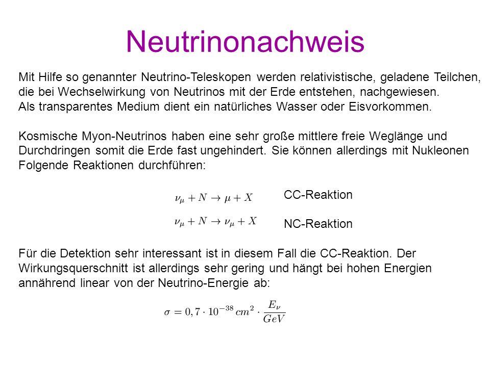 Neutrinonachweis Mit Hilfe so genannter Neutrino-Teleskopen werden relativistische, geladene Teilchen,