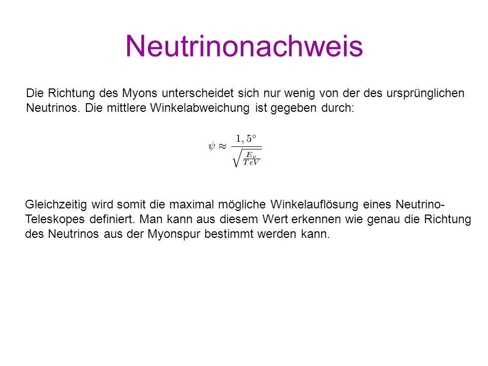 Neutrinonachweis Die Richtung des Myons unterscheidet sich nur wenig von der des ursprünglichen.