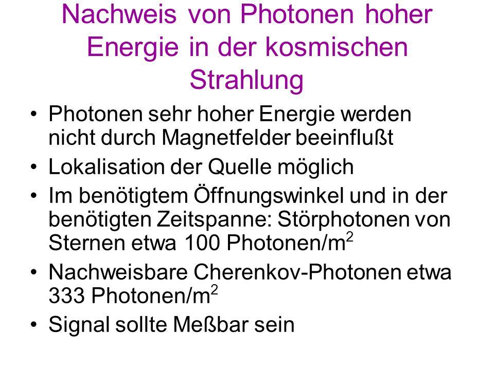 Nachweis von Photonen hoher Energie in der kosmischen Strahlung
