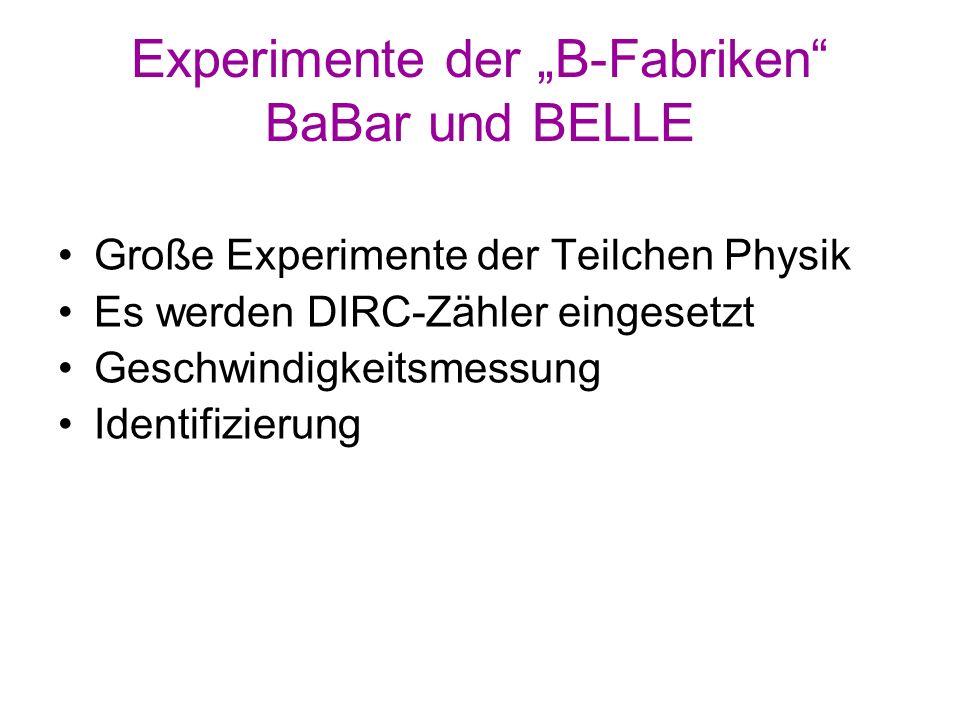 """Experimente der """"B-Fabriken BaBar und BELLE"""