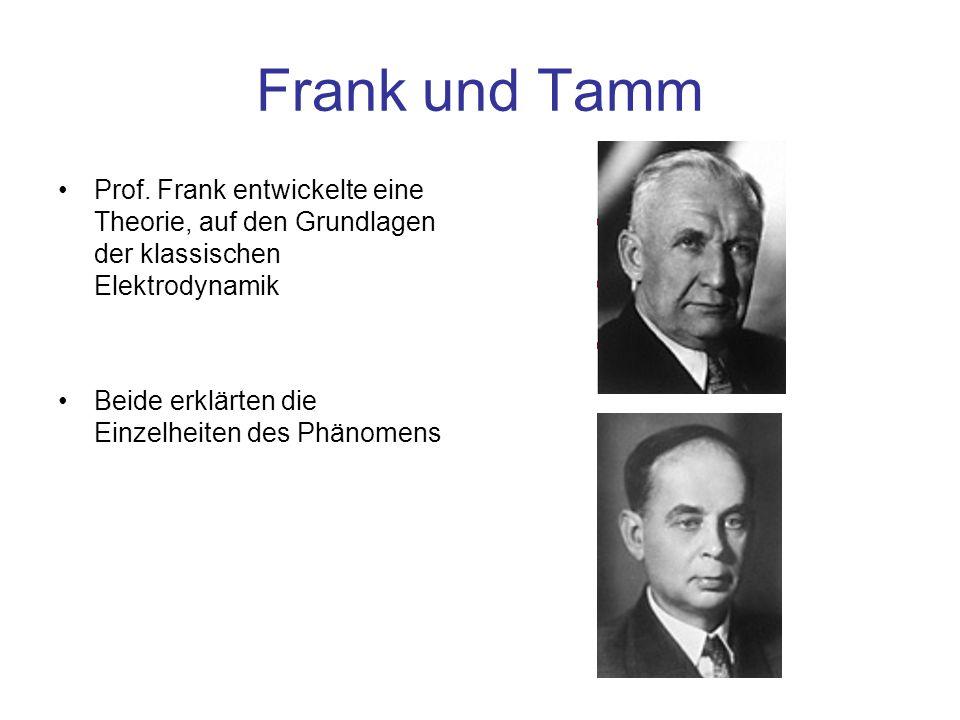 Frank und Tamm Prof. Frank entwickelte eine Theorie, auf den Grundlagen der klassischen Elektrodynamik.