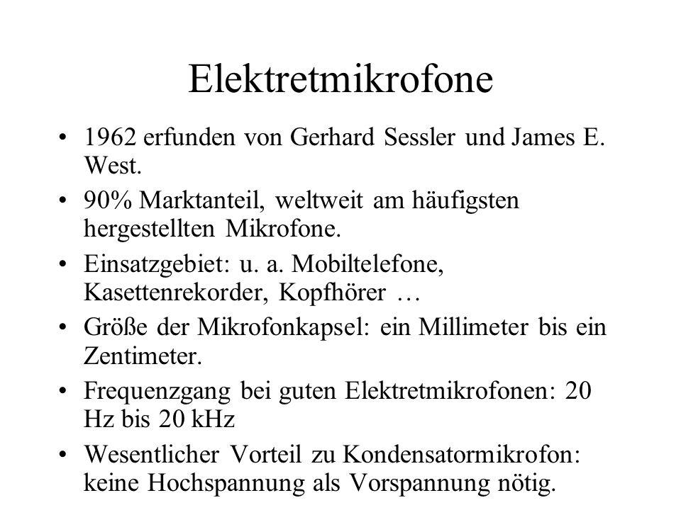 Elektretmikrofone 1962 erfunden von Gerhard Sessler und James E. West.