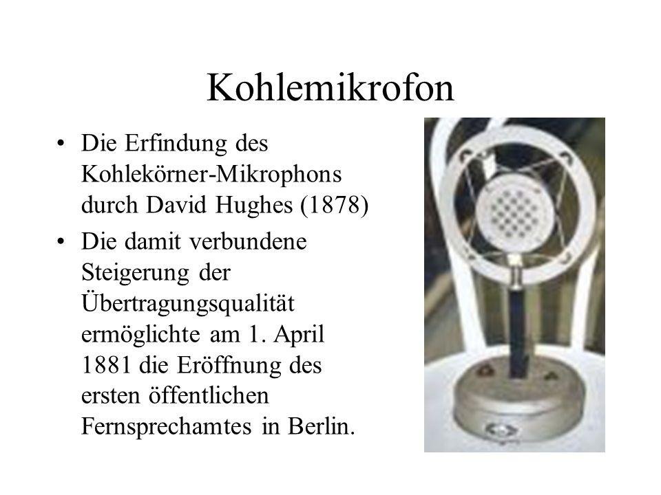 Kohlemikrofon Die Erfindung des Kohlekörner-Mikrophons durch David Hughes (1878)