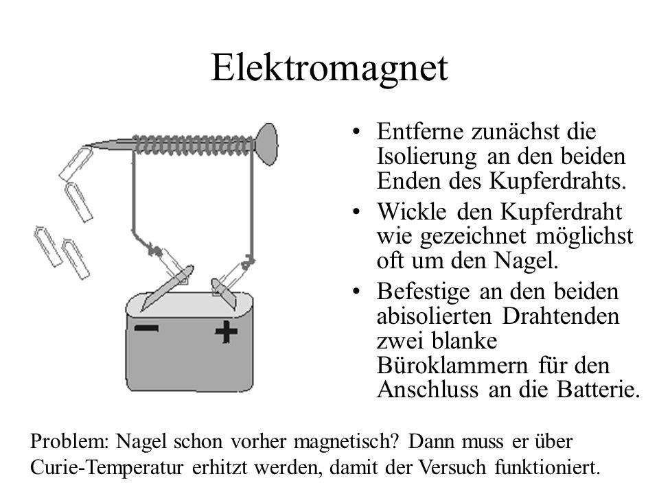 Elektromagnet Entferne zunächst die Isolierung an den beiden Enden des Kupferdrahts.