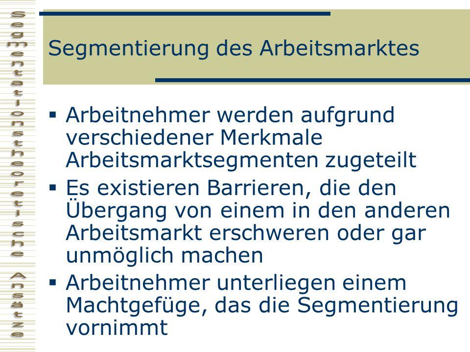Segmentierung des Arbeitsmarktes
