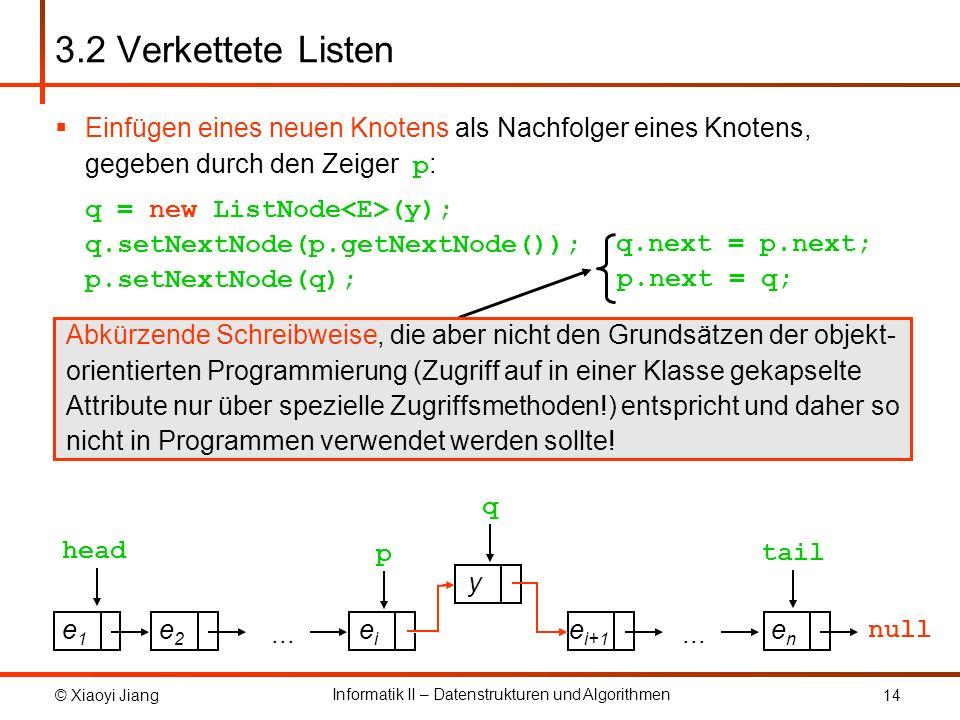 3.2 Verkettete ListenEinfügen eines neuen Knotens als Nachfolger eines Knotens, gegeben durch den Zeiger p: