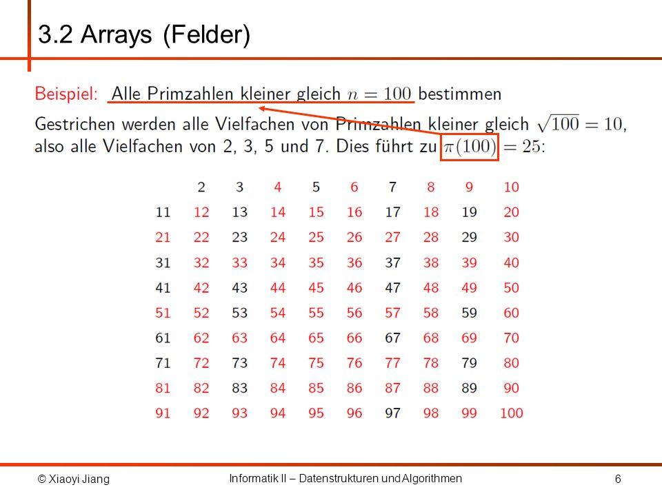 3.2 Arrays (Felder) Das Primzahlensieb von Eratosthenes funktioniert wie folgt: …