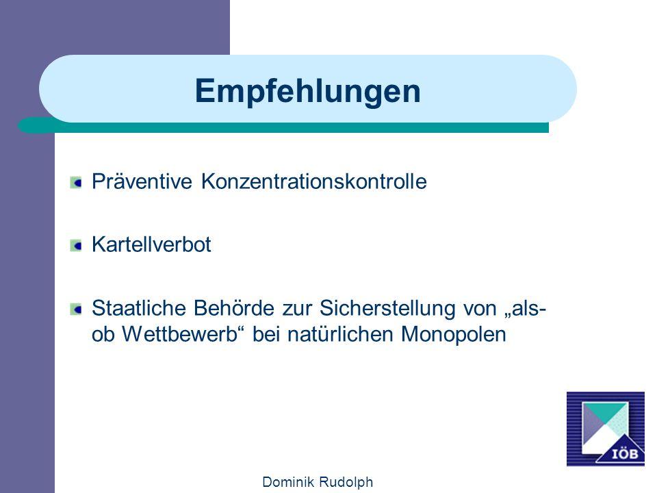 Empfehlungen Präventive Konzentrationskontrolle Kartellverbot