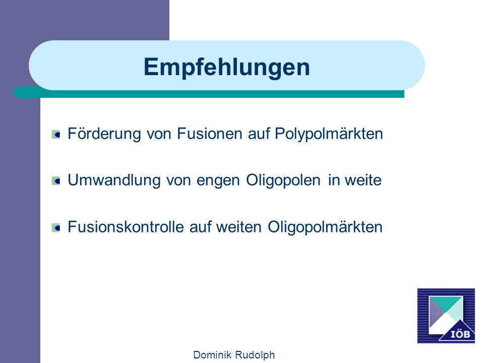 Empfehlungen Förderung von Fusionen auf Polypolmärkten