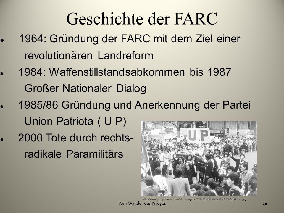 Geschichte der FARC 1964: Gründung der FARC mit dem Ziel einer