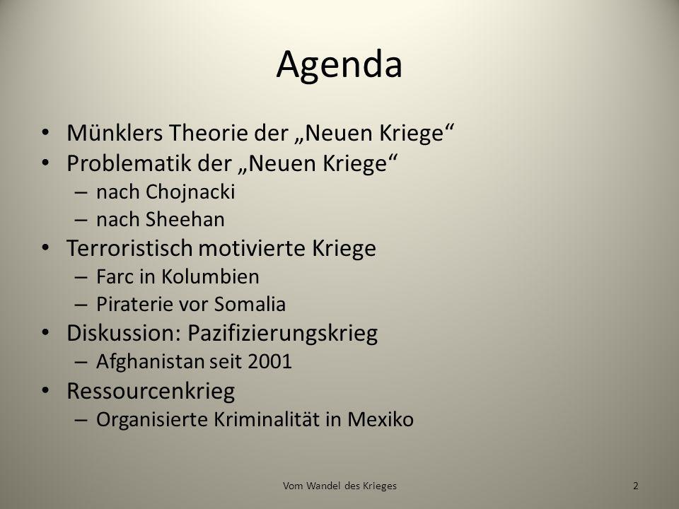 """Agenda Münklers Theorie der """"Neuen Kriege"""