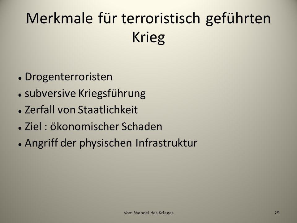 Merkmale für terroristisch geführten Krieg