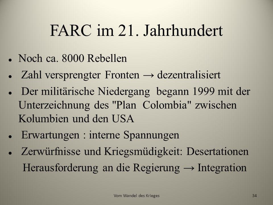 FARC im 21. Jahrhundert Noch ca. 8000 Rebellen