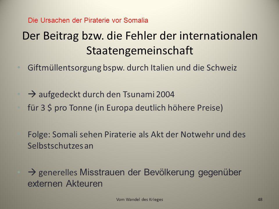 Der Beitrag bzw. die Fehler der internationalen Staatengemeinschaft
