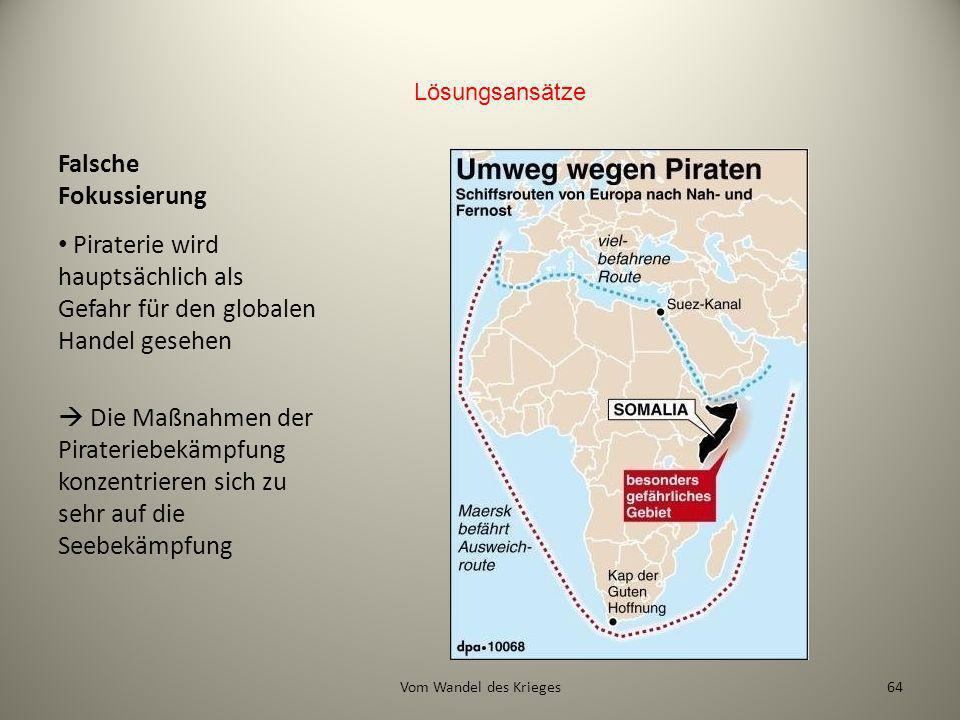 Lösungsansätze Falsche Fokussierung. Piraterie wird hauptsächlich als Gefahr für den globalen Handel gesehen.