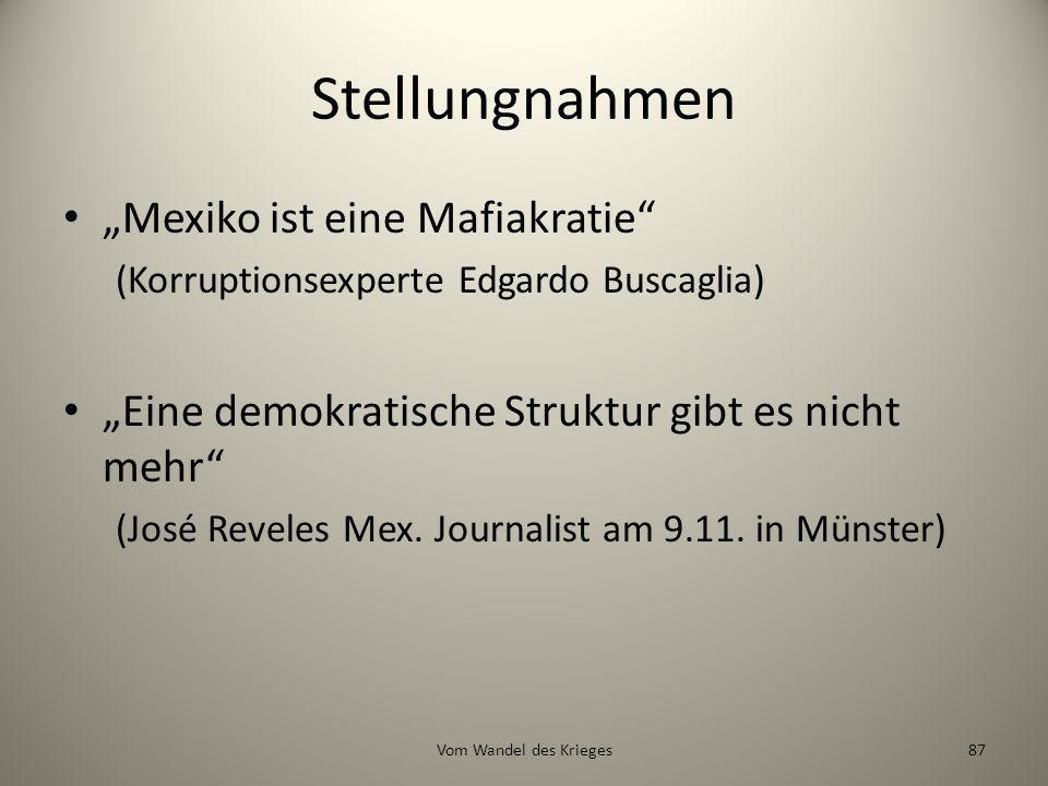 """Stellungnahmen """"Mexiko ist eine Mafiakratie"""